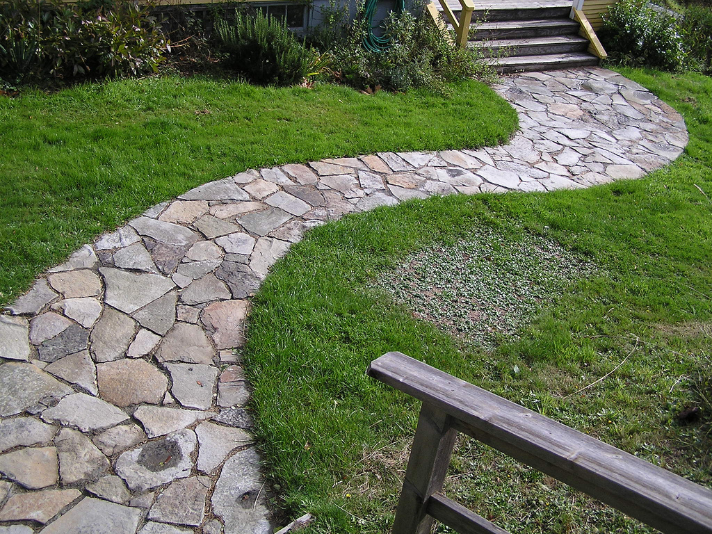 Laying Natural Stone : How to lay down a stone pathway build house