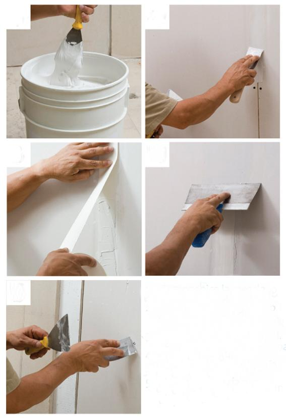Applying Drywall Tape : Drywall joint compound applying and sanding how to