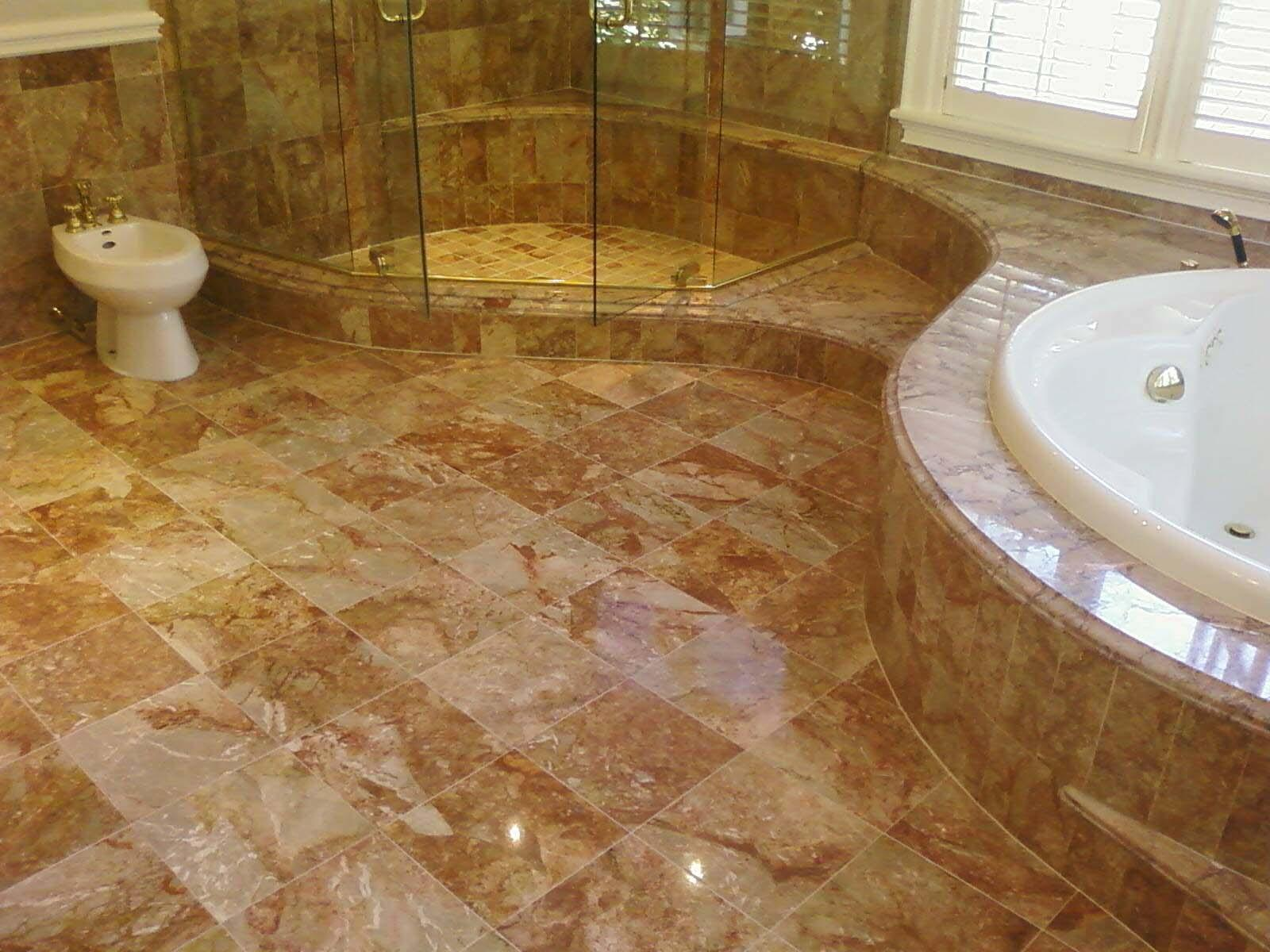 Photo Stone Tile Bathrooms Bathroom Marble Flooring
