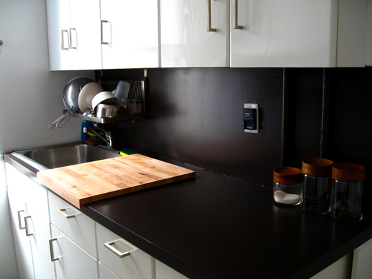 Kitchen laminate countertop repairs how to build a house for Painting kitchen countertops before and after