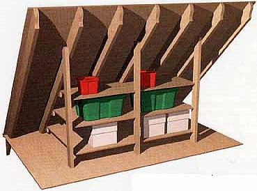 Merveilleux Shelves Between Two Attic Rafters