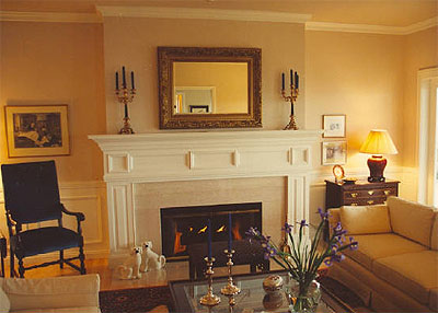 If you want your room seems larger place a mirror above the fireplace