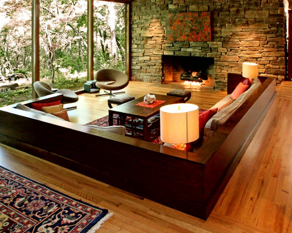 Contemporary Living Room. Natural Stone Wall